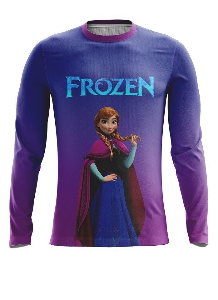 camiseta infantil proteção solar uv fator 50+ ana frozen. Carregando zoom. d2e8f71b18c