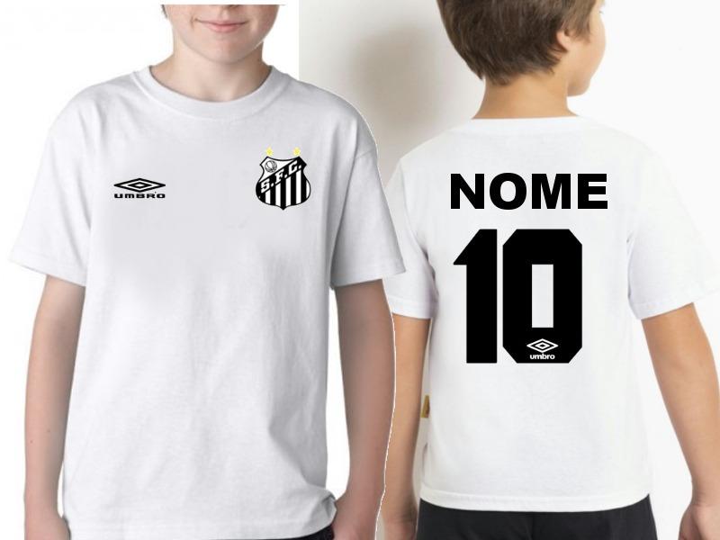 camiseta infantil santos personalizada com nome. Carregando zoom. 5d961affc0a65