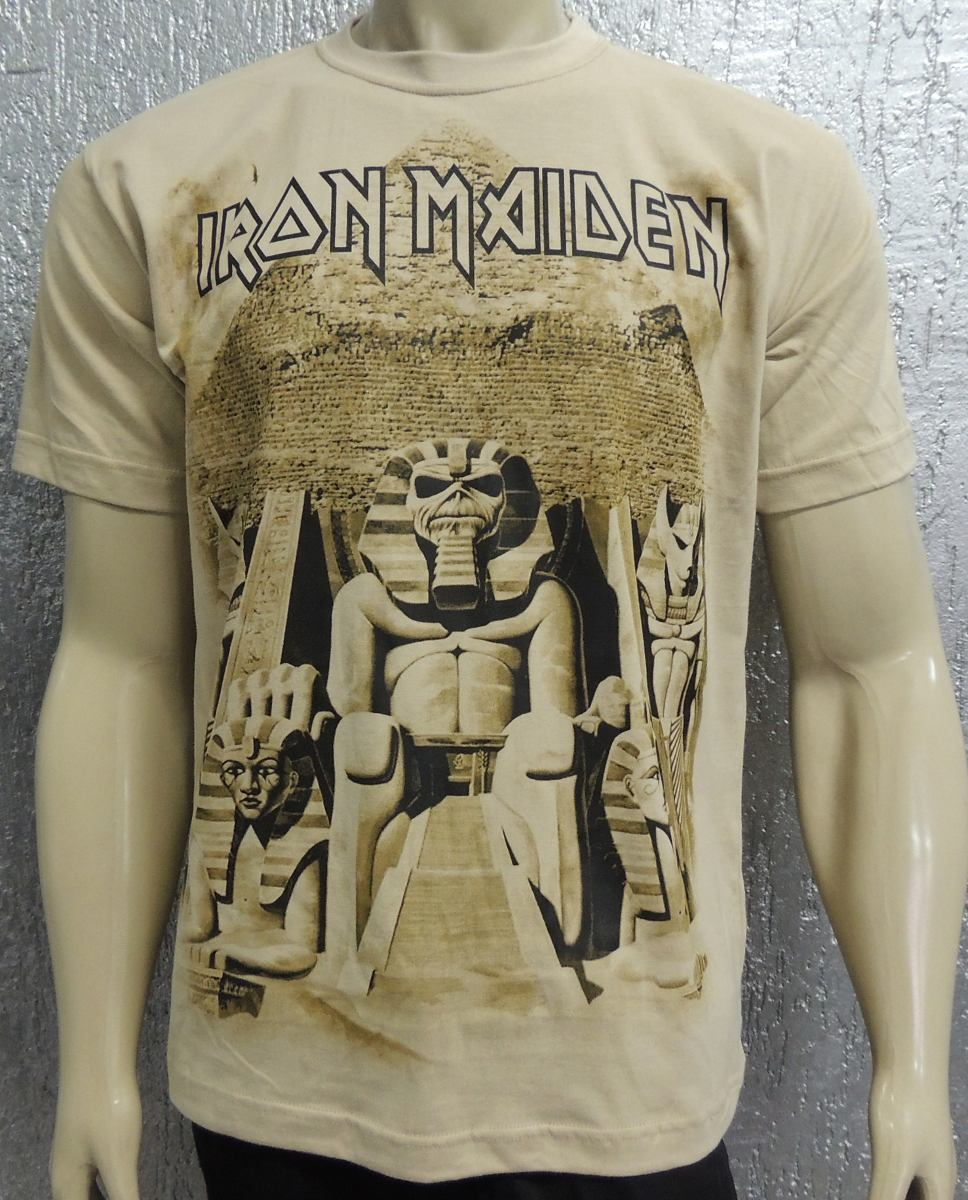 beccd87f0a camiseta iron maiden - powerslave - especial malha bege. Carregando zoom.