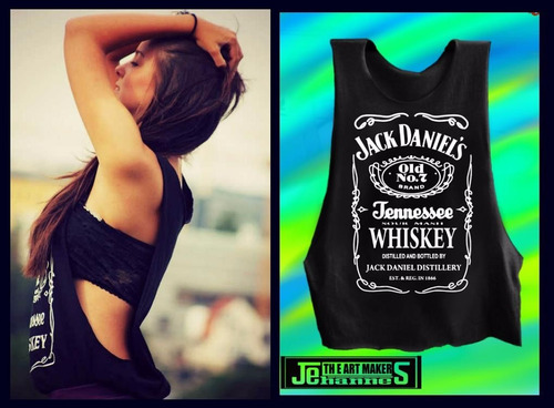 camiseta jack daniel`s mujer hombre estampada