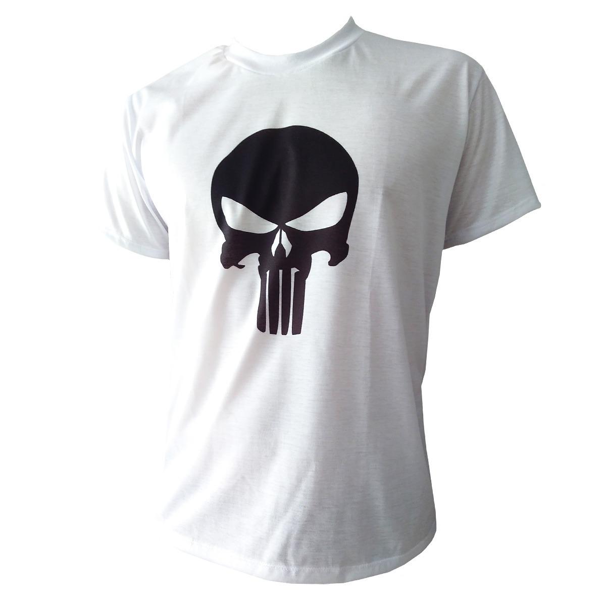 bcb1c77bfa4e1 Camiseta Justiceiro Camisa Branca The Punisher Desenho - R  29