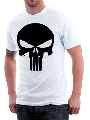camiseta justiceiro - punisher- preto ou branco 100% algodão