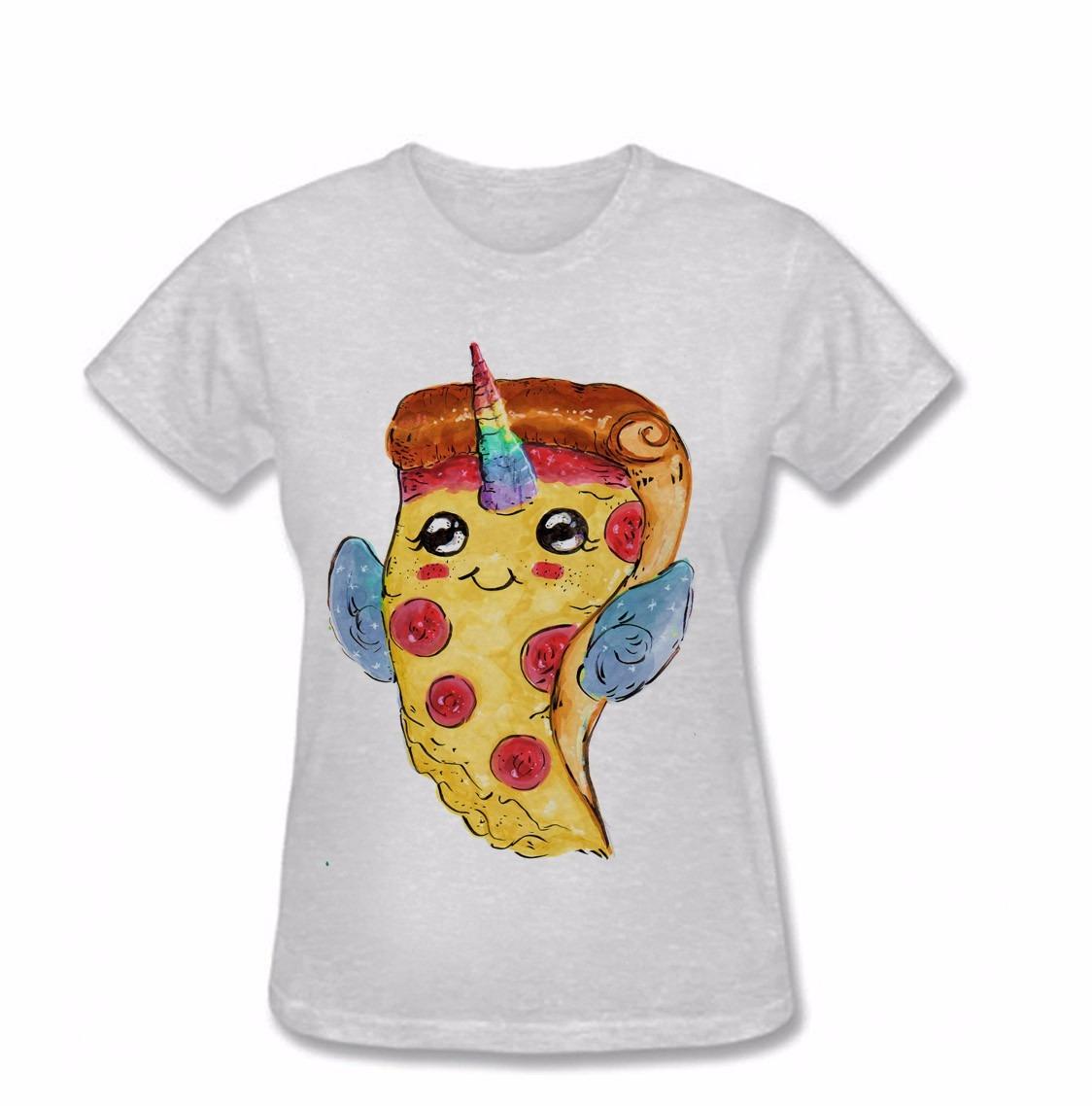 Camiseta Juvenil Feminina Pizza Unicornio Kawaii Fofa Tumblr R 25