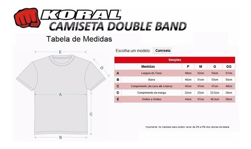 camiseta koral double band vermelha