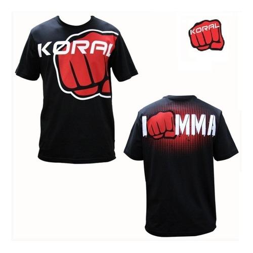 camiseta koral i am mma preta vermelha