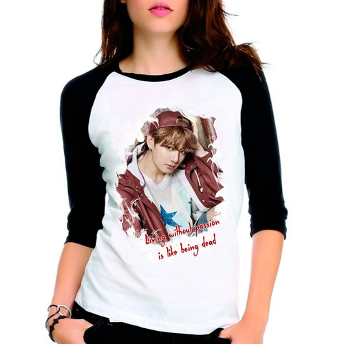 camiseta kpop bts jungkook bangtan boys raglan babylook 3/4