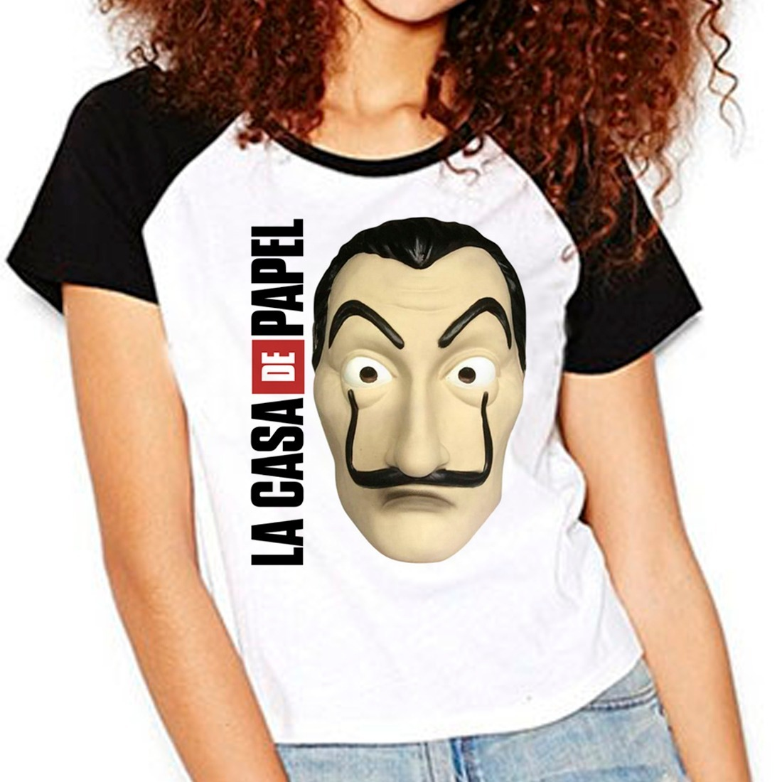 camiseta la casa de papel mascara dali série raglan babylook. Carregando  zoom. 0a17f7a980904