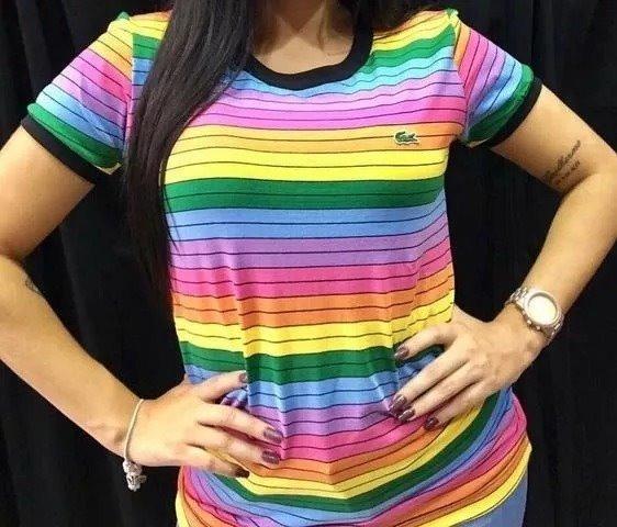 0c2debbcdeb79 Camiseta Lacoste Feminina Arco Iris Casal Original Preço Bom - R  89 ...