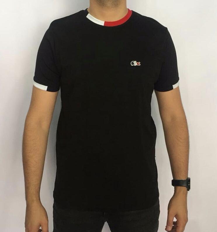 8534de27612fd Camiseta Lacoste França Original Importada Perú Preta Detalh - R ...