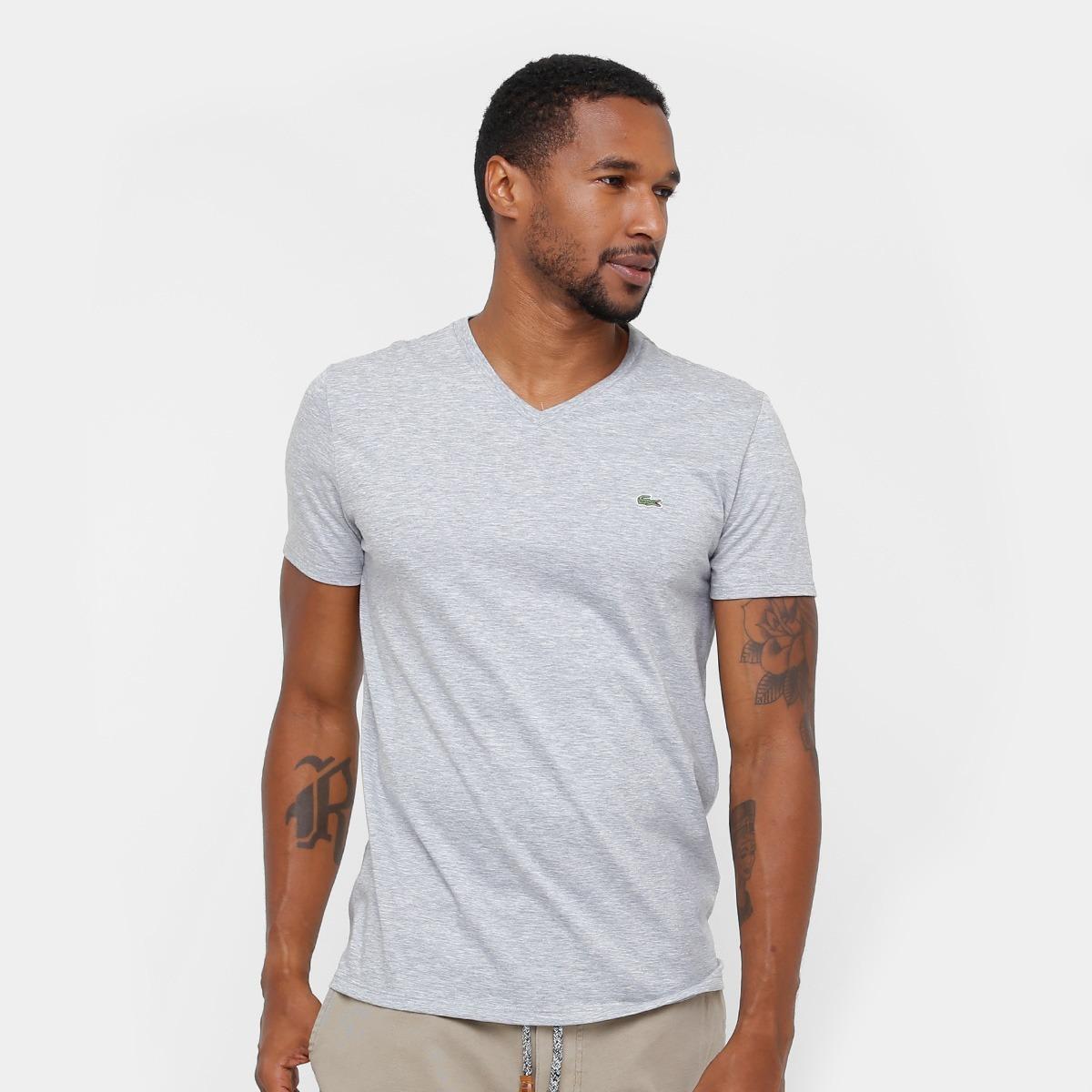 b40e50f7e6 camiseta lacoste gola v - cinza - original - frete gratis. Carregando zoom.