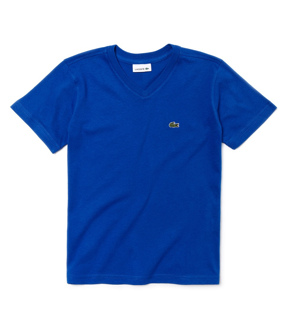 36b74b03c2a camiseta lacoste infantil gola v azul bic. Carregando zoom.