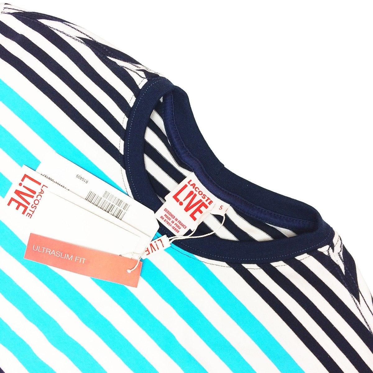 a07747b59f9 camiseta lacoste lançamento listrada azul bebê c  preto cl2. Carregando zoom .
