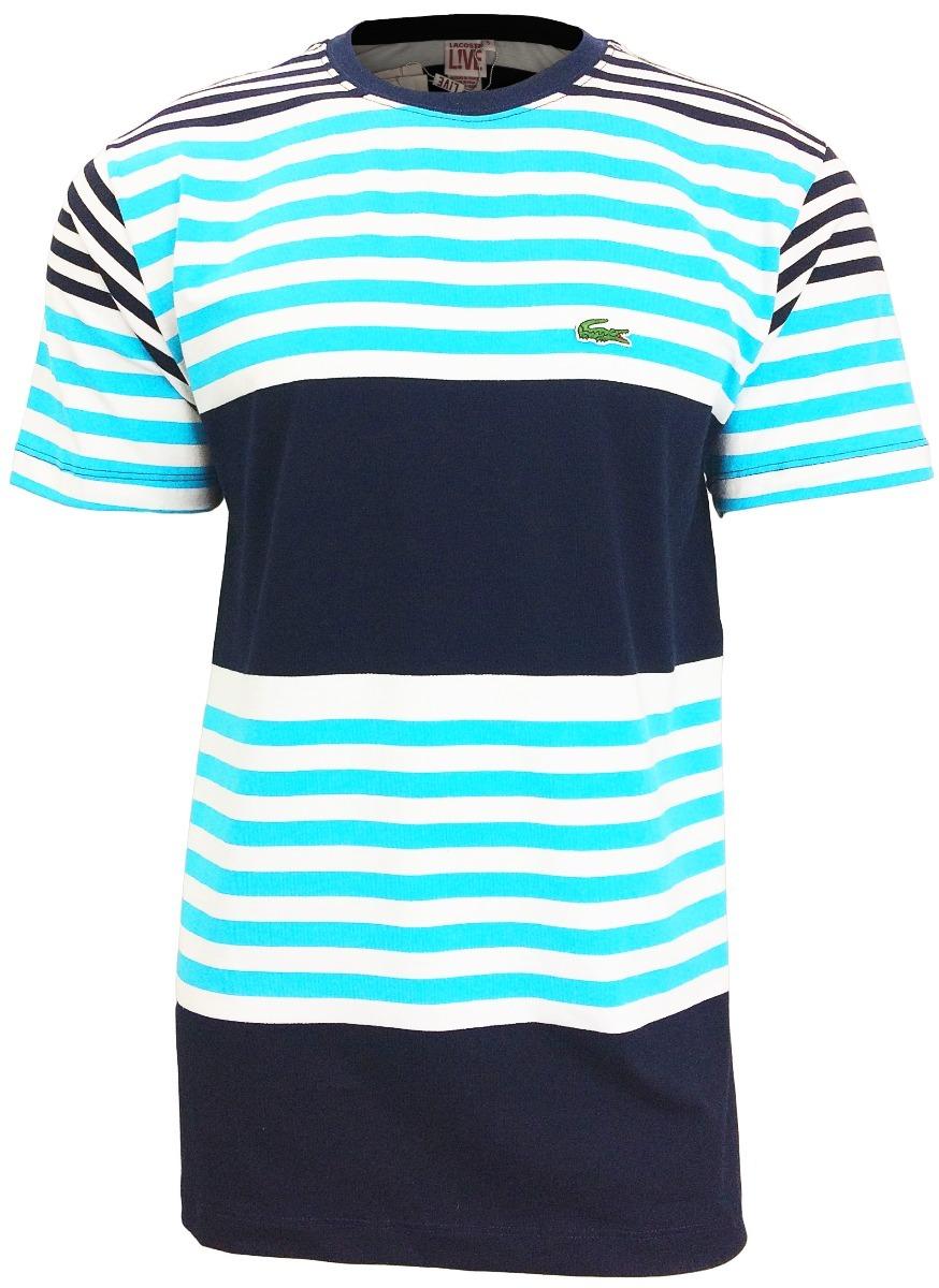 ca58901b07dd1 camiseta lacoste lançamento listrada azul bebê c  preto cl2. Carregando  zoom.