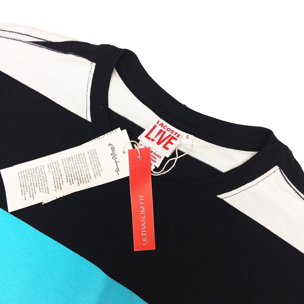 9fa8cc30af0 camiseta lacoste lançamento listrada preta c  azul bebê cl16. Carregando  zoom.