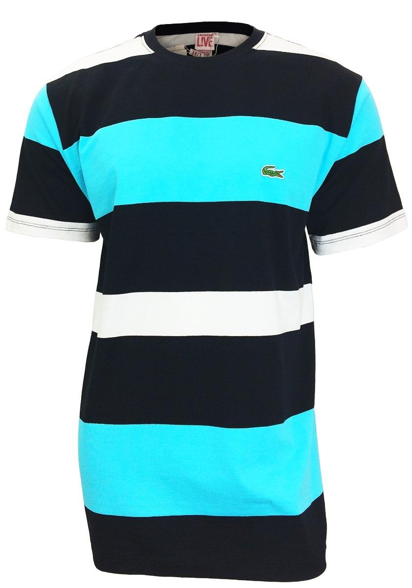 a19bee7691a66 camiseta lacoste lançamento listrada preta c  azul bebê cl16. Carregando  zoom.