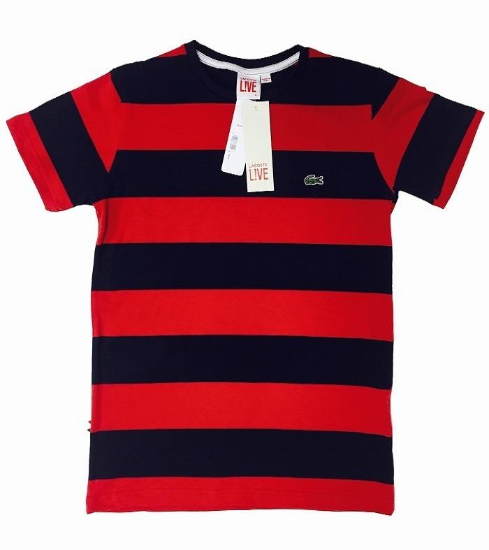 848a8e92cd5 Camiseta Lacoste Listrada Vermelha Com Preto Original - R  79