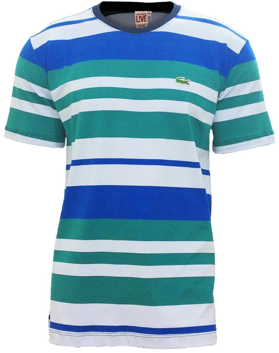 e5e90a8fbb0 Camiseta Lacoste Live Azul C  Royal E Verde Lançamento - R  89