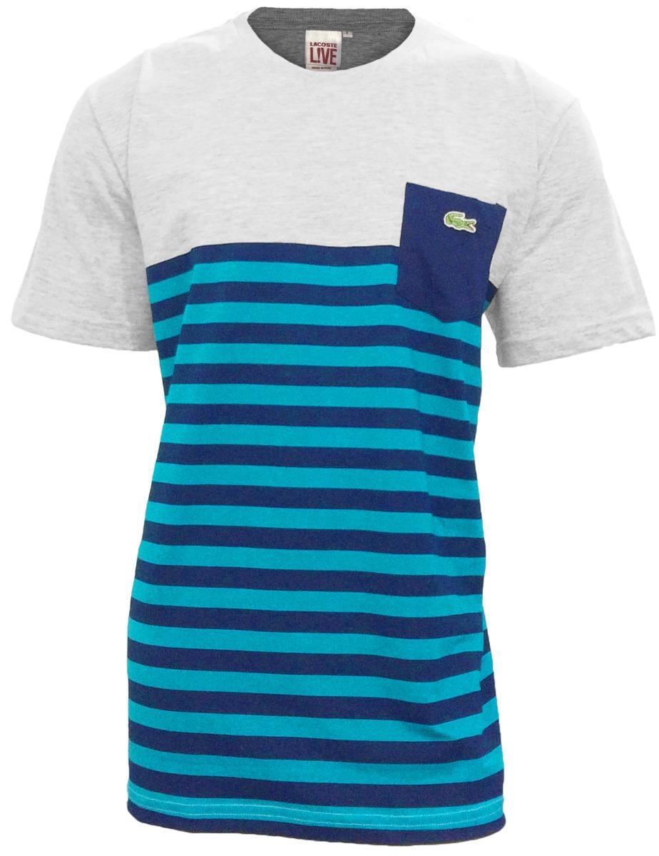 5789b165e9b36 Camiseta Lacoste Live Lançamento Cinza C  Preto E Azul Cl19 - R  89 ...