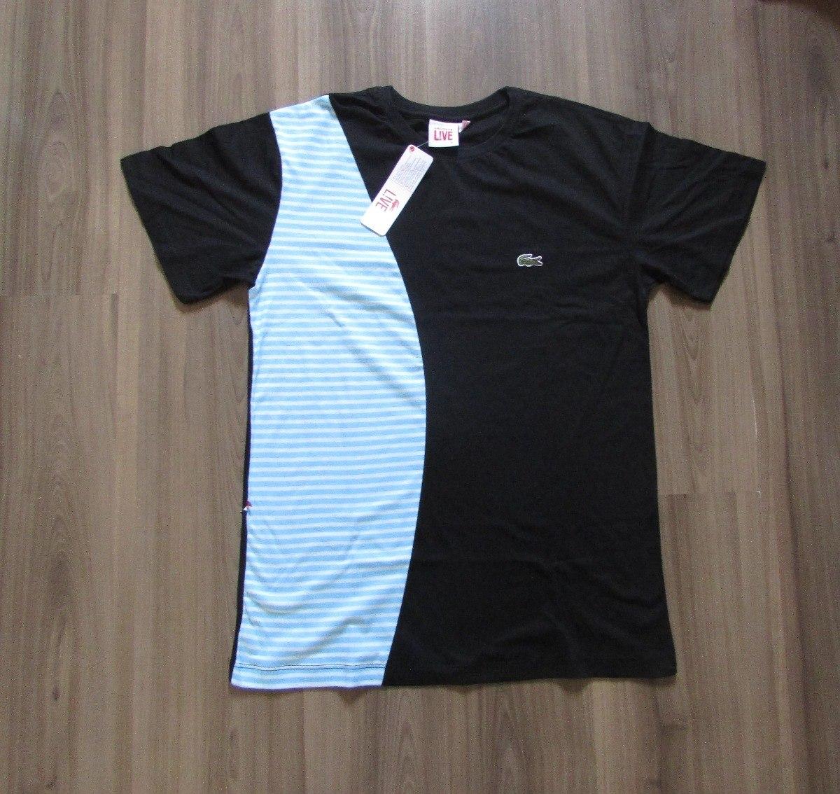 759cd8b08ea Camiseta Lacoste Live Original Peruana Oferta Listrada Preta - R  69 ...