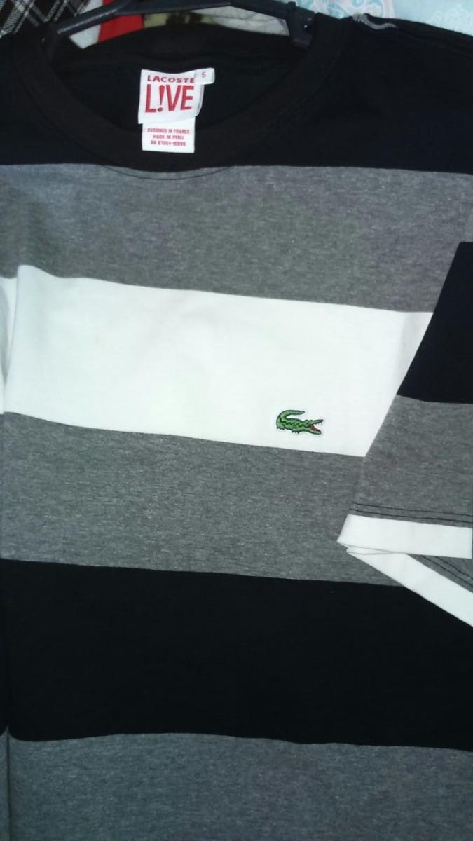 Camiseta Lacoste Live Unisex Listrada G - R  74,90 em Mercado Livre 65ac0fd3ac