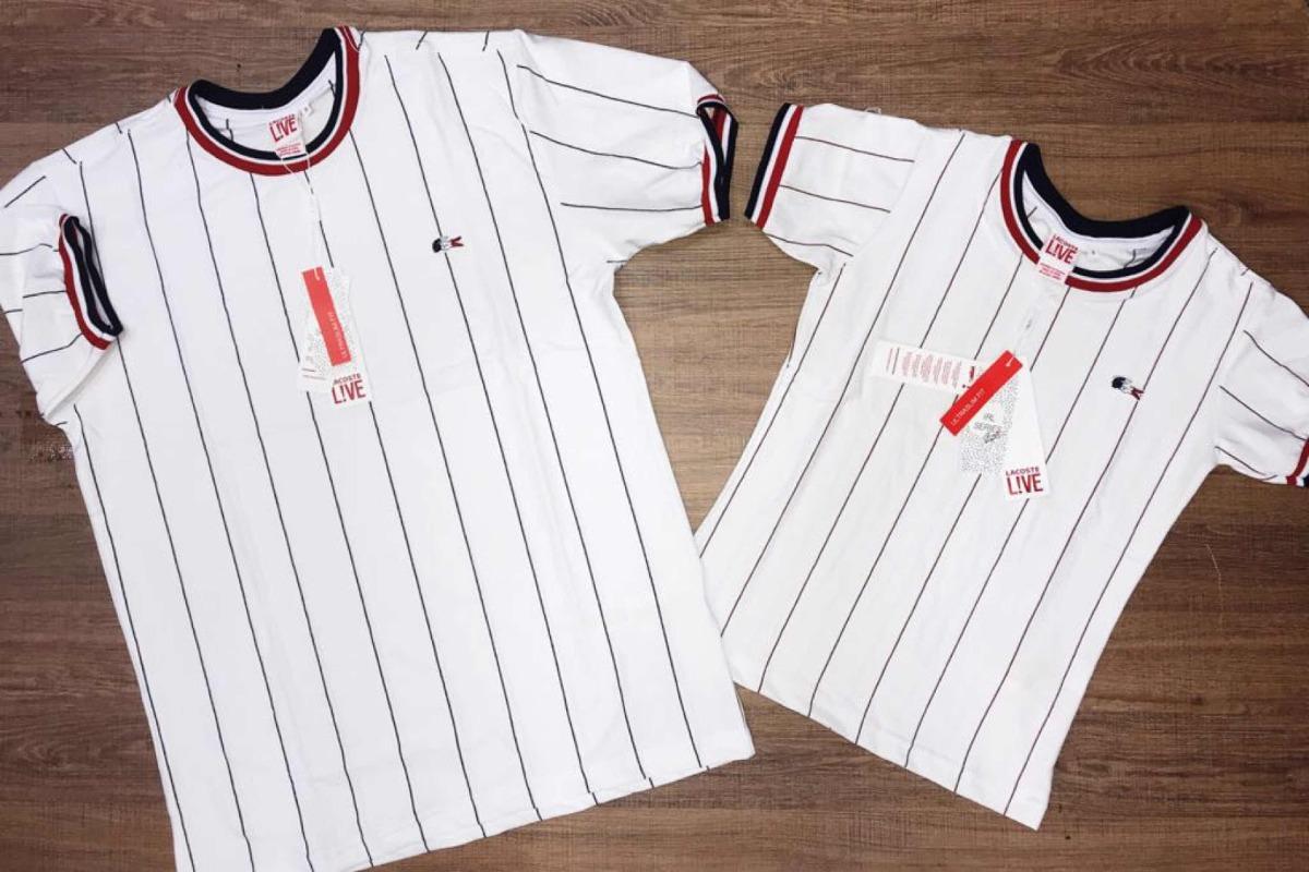 3d1dfb6d4f6 Camiseta Lacoste Unissex Casal Risca De Giz Moda Instagram - R  89 ...