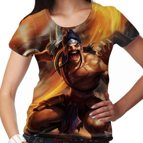camiseta league of legends draven carrasco de noxus feminina