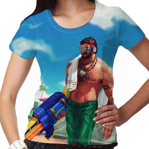 camiseta league of legends graves festa na piscina feminina