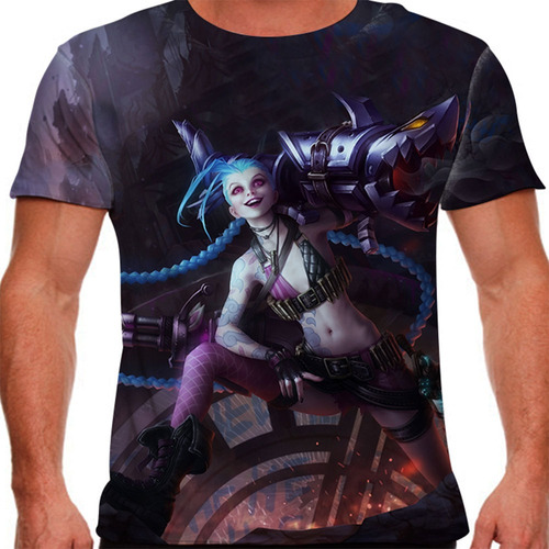 camiseta league of legends jinx gatilho desenfreado masculin