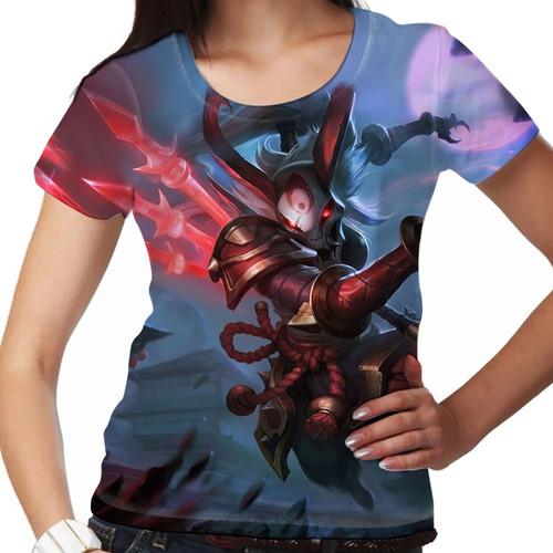 camiseta league of legends kalista lua sangrenta feminina