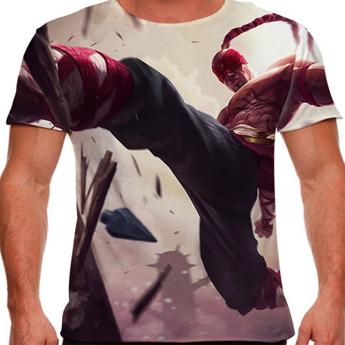 camiseta league of legends lee sin monge cego masculina