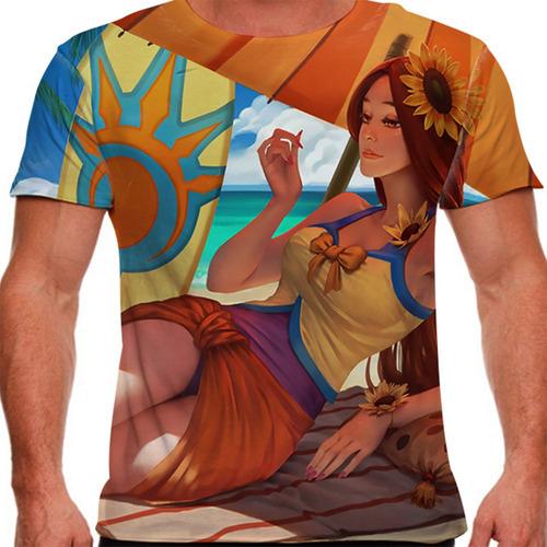 camiseta league of legends leona curtindo o verão masculina