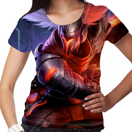 camiseta league of legends projeto yasuo feminina