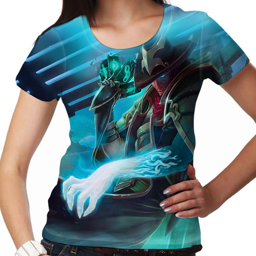 camiseta league of legends twisted fate do submundo feminina