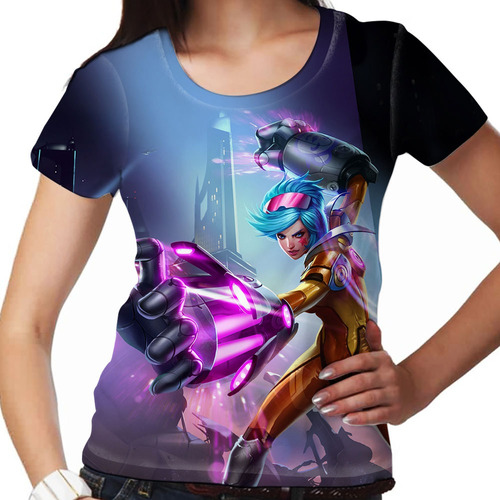 camiseta league of legends vi golpes de neon feminina
