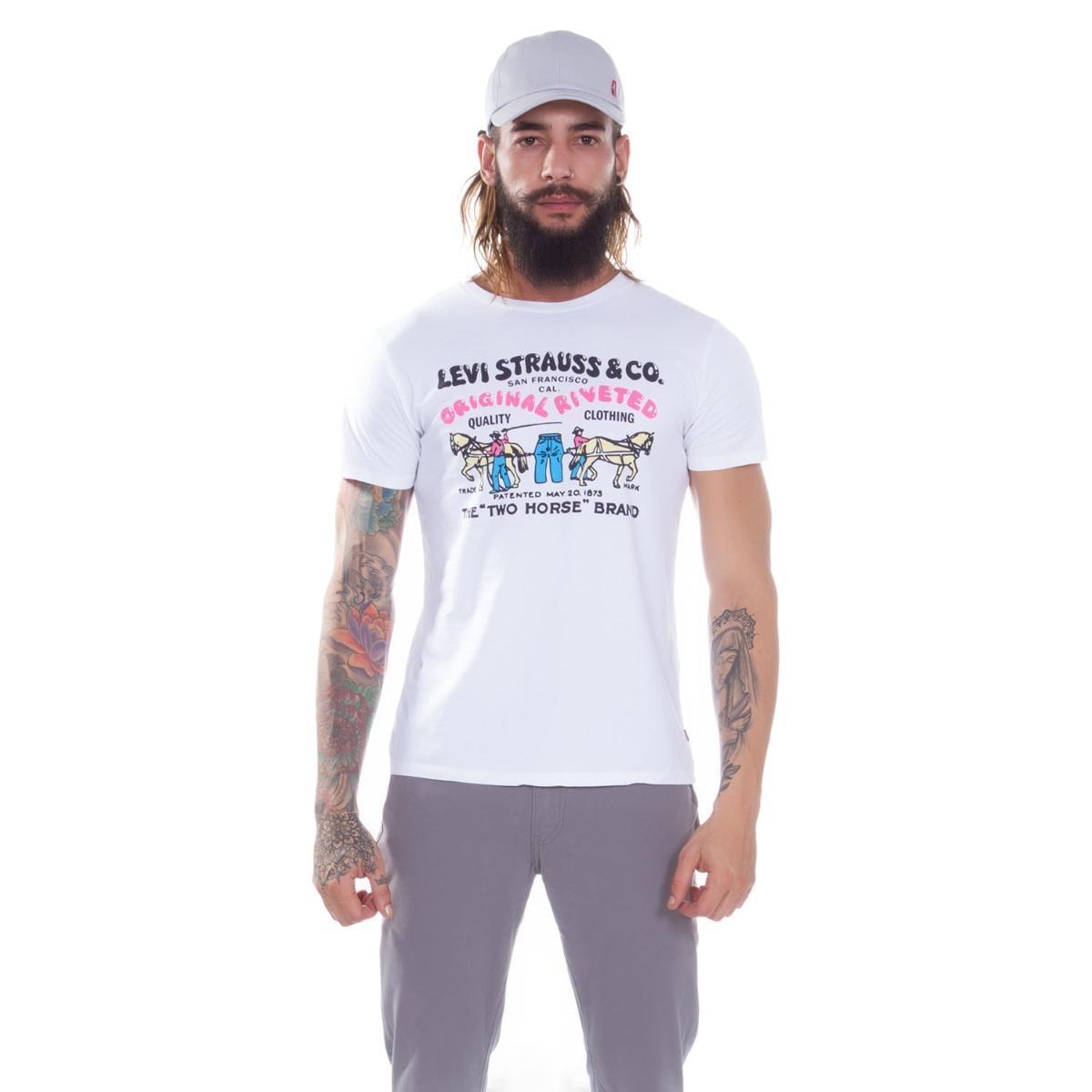 camiseta levi s masculino graphic two horse branco. Carregando zoom. c9b3e1848d1