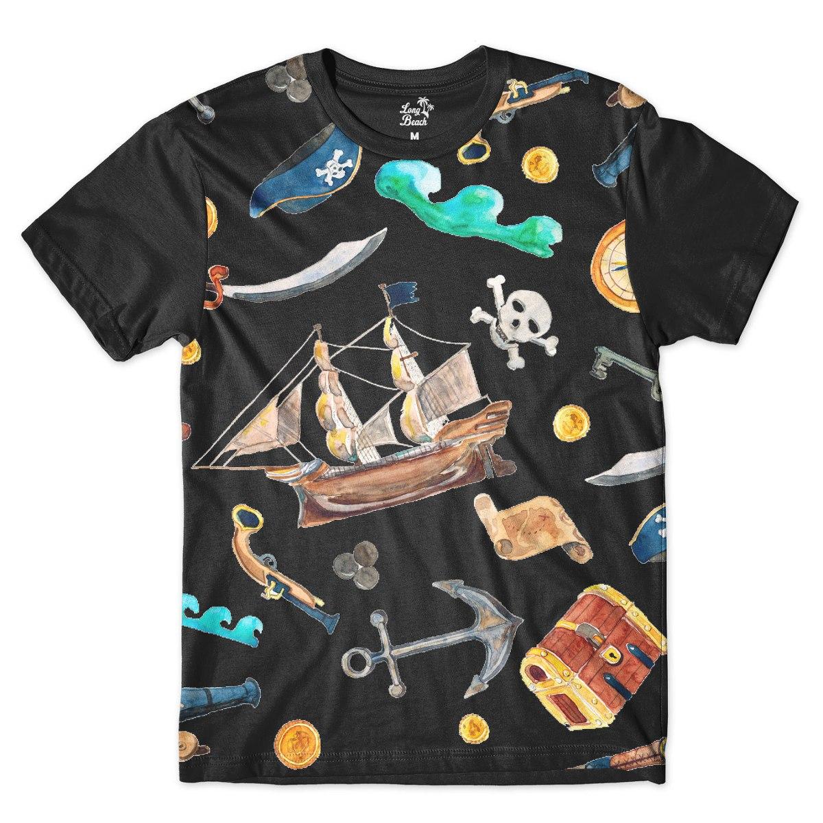 camiseta long beach náutica elementos piratas full print pre. Carregando  zoom. 762c737126