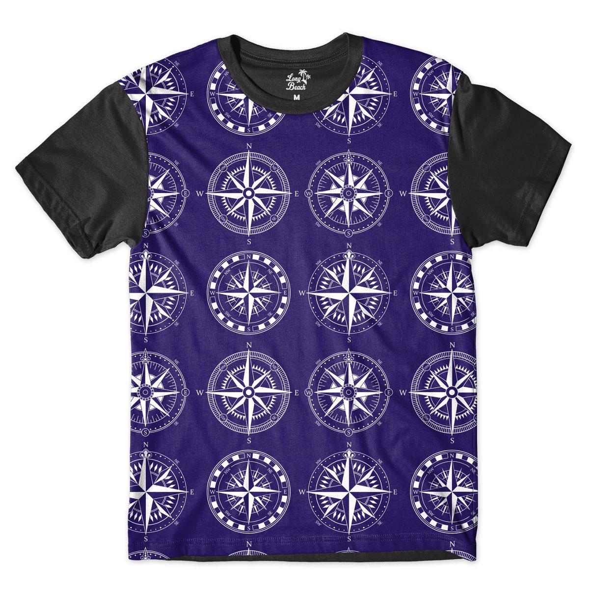 camiseta long beach náutica pontos cardeais full print azul. Carregando  zoom. ff632e74bc