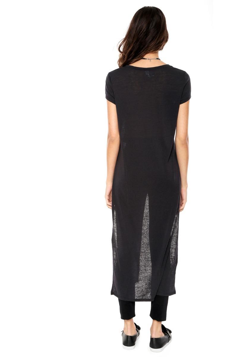 00186b5e2 Camiseta Long T-shirt Preta Colcci Feminina - R$ 189,90 em Mercado Livre