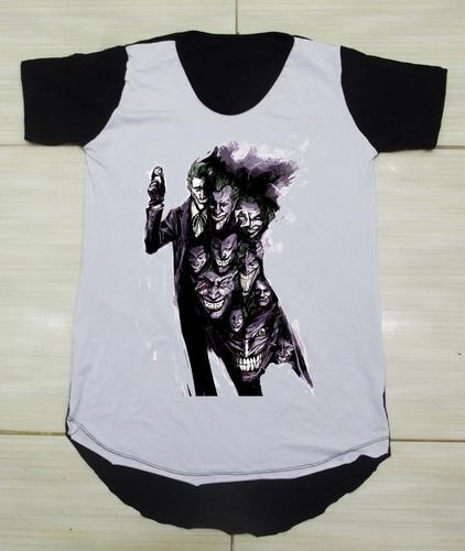 54532c7031 Camiseta Longline Camisa Oversized Personalizada Coringa - R  35