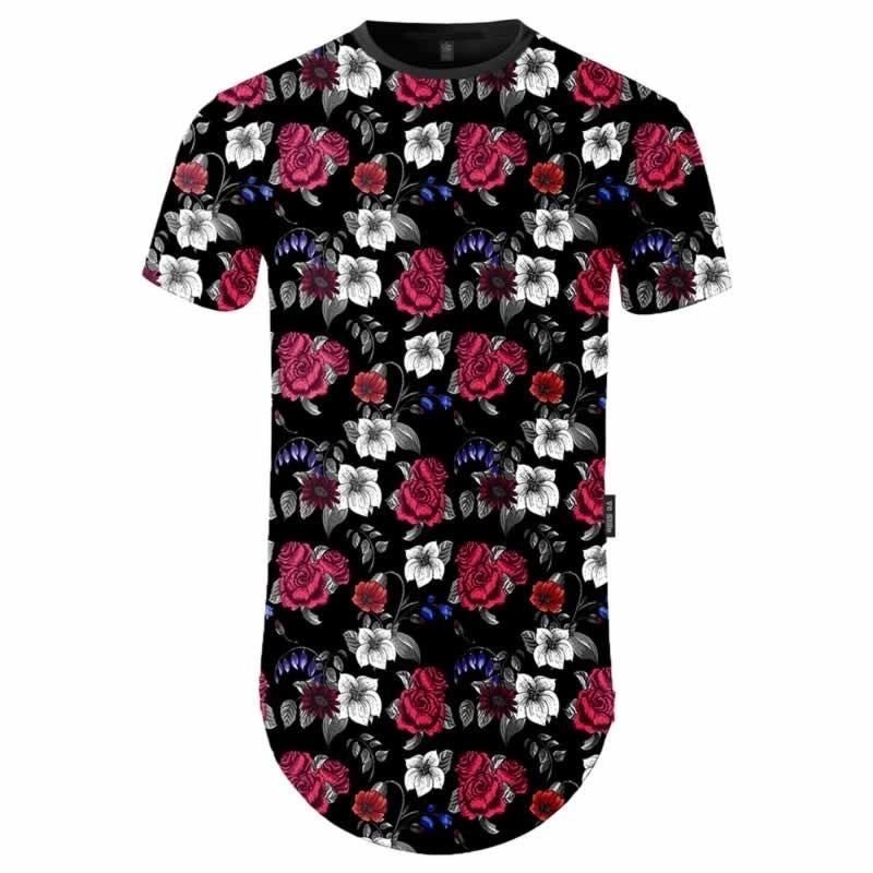 19e327932c7f3 camiseta longline masculina estampada floral. Carregando zoom.