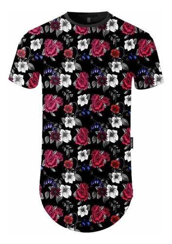 camiseta longline masculina estampada floral c64