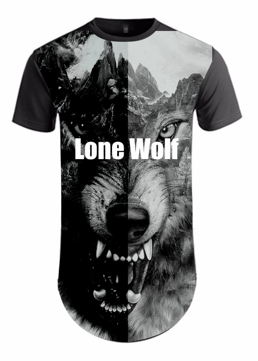 3ed86c2487 Camiseta Longline Masculina Lone Wolf Camisa Lobo Animal - R  74
