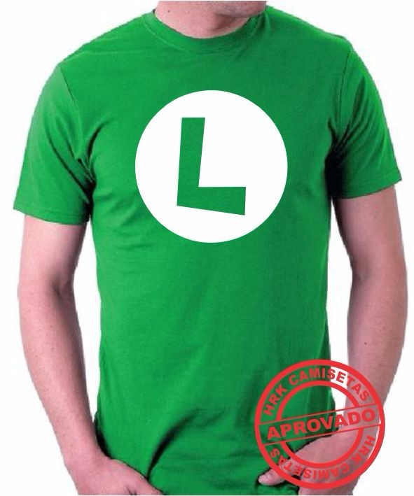4a5b0d58b0e50 Camiseta Luigi Mario Bros Personalizada Nintendo Algodão 1up - R  33 ...