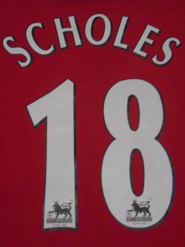 camiseta manchester united inglaterra 2002 2003 scholes #18