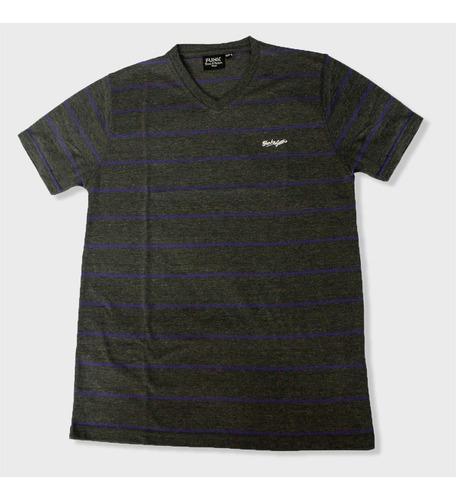camiseta manga corta cuello v hombre rayas color gris funk