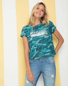 e7dabf5a66ae Camiseta Manga Corta Estampada Verde Para Mujer Gef