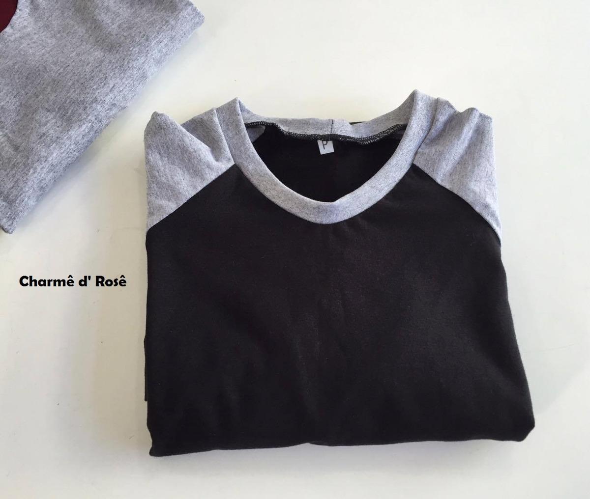 Camiseta Raglan Lisa 100 % Algodão Manga Curta Masculina - R  39 5e937c23a79