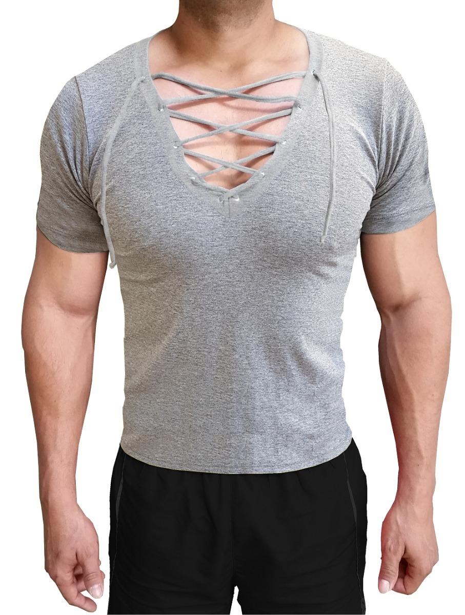 145a584659 Camiseta Masculina Gola V Cavada Com Cordão Slim Manga Curta - R  46 ...