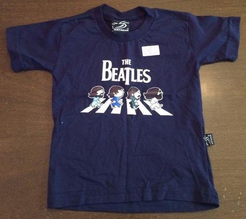 camiseta manga curta azul marinho - beatles - tam: 1 - c.648