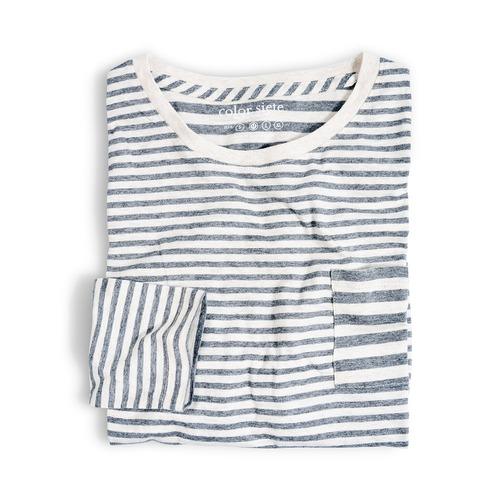 camiseta manga larga color siete para hombre - beige